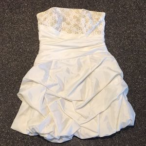 J McClintock ivory w gold strapless bubble dress